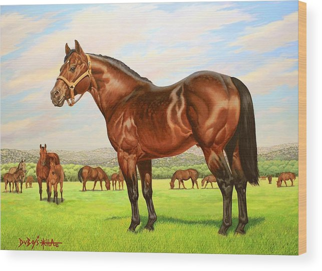 Quarter Horse Wood Print featuring the painting King P-234 No.two by Howard Dubois