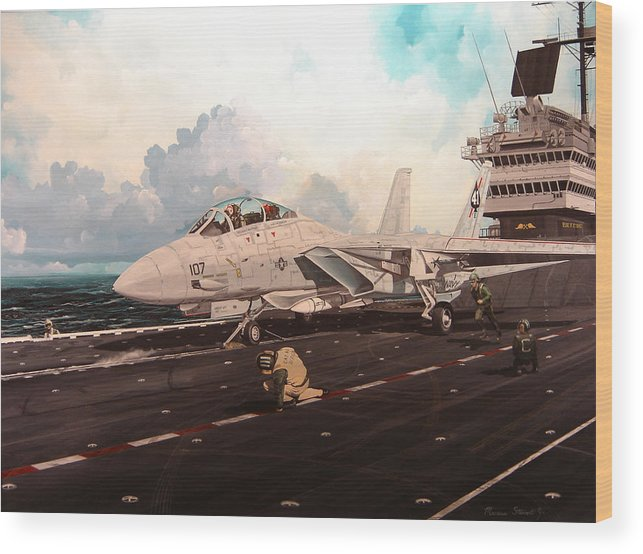 Military Wood Print featuring the painting Launch The Alert 5 by Marc Stewart