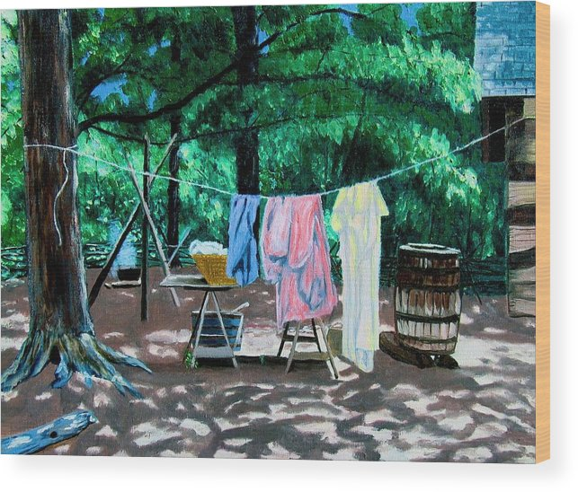 Original Oil On Canvas Wood Print featuring the painting Laundry Day 1800 by Stan Hamilton