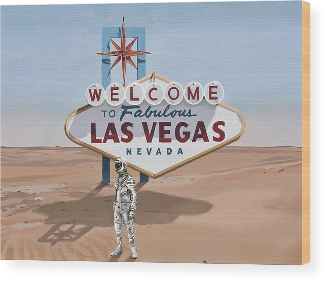 Astronaut Wood Print featuring the painting Leaving Las Vegas by Scott Listfield