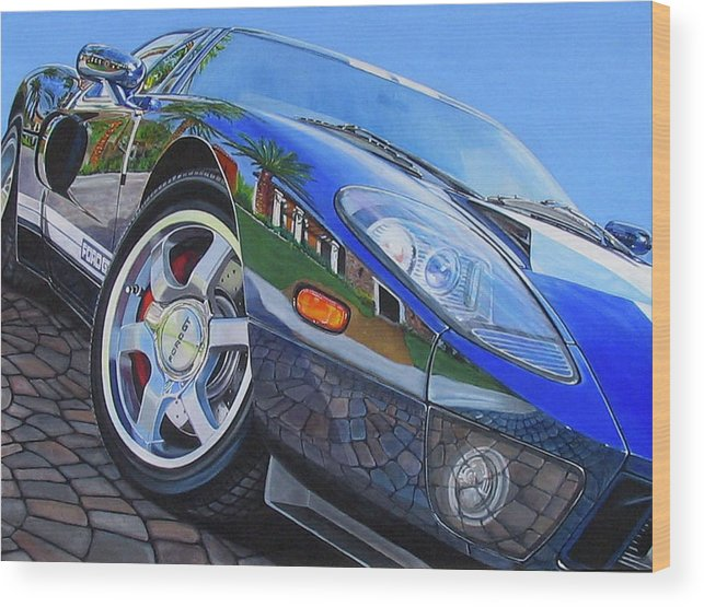 Car Wood Print featuring the painting Love On The Rocks by Lynn Masters