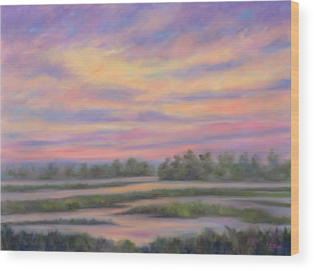 Low Country Wood Print featuring the painting Low Country Marsh Sunset by Jeff Pittman