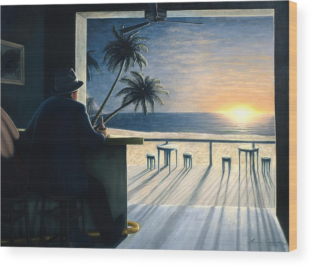 Sunset Wood Print featuring the painting Man at the Bar by Lance Anderson