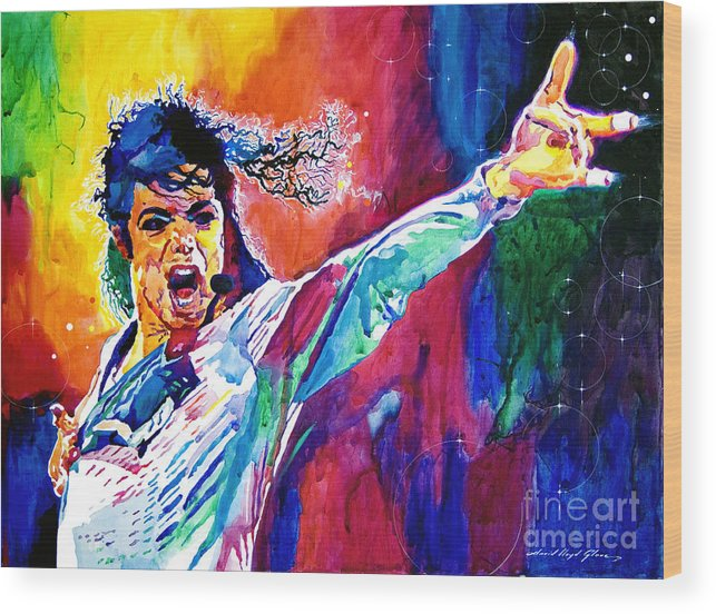 Michael Jackson Wood Print featuring the painting Michael Jackson Force by David Lloyd Glover