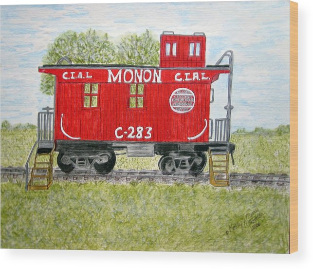 Monon Wood Print featuring the painting Monon Wood Caboose Train C 283 1950s by Kathy Marrs Chandler