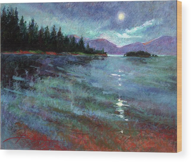 Murals Wood Print featuring the painting Moon Over Pend Orielle by Betty Jean Billups
