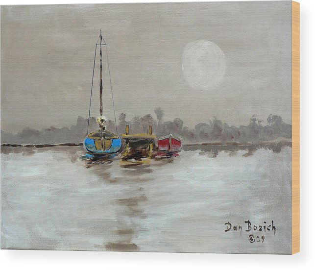 Foggy Morning Wood Print featuring the painting Morning Boats by Dan Bozich