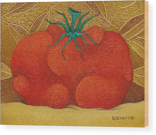 Sacha Wood Print featuring the painting My Tomato 2008 by S A C H A - Circulism Technique