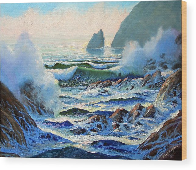 Seascape Wood Print featuring the painting North Coast Surf by Frank Wilson