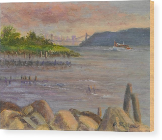 Landscape Wood Print featuring the painting NY Skyline and GWB from Hastings On Hudson by Phyllis Tarlow