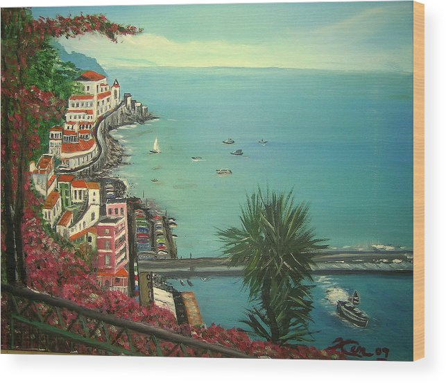 Ocean Wood Print featuring the painting Ocean View by Kenneth LePoidevin