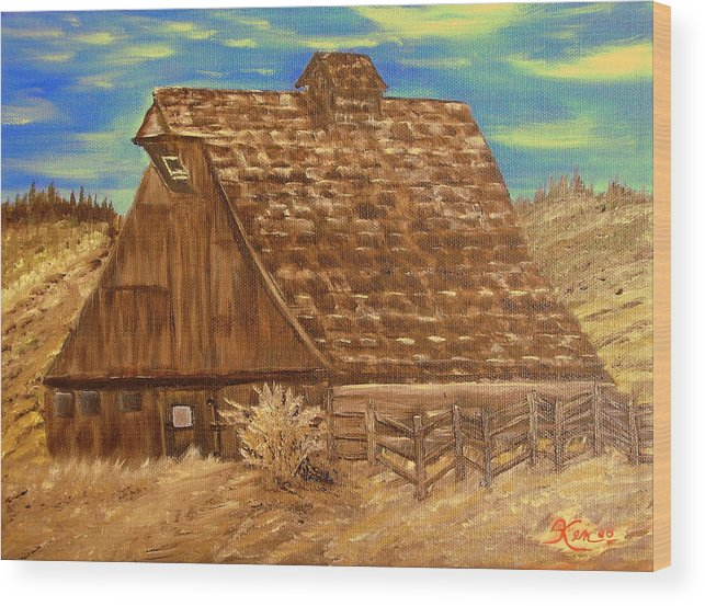 Landscape Wood Print featuring the painting Old Barn Series by Kenneth LePoidevin