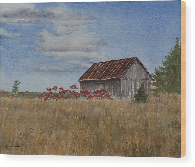 Farm Wood Print featuring the painting Old Farmer's Barn by Debbie Homewood