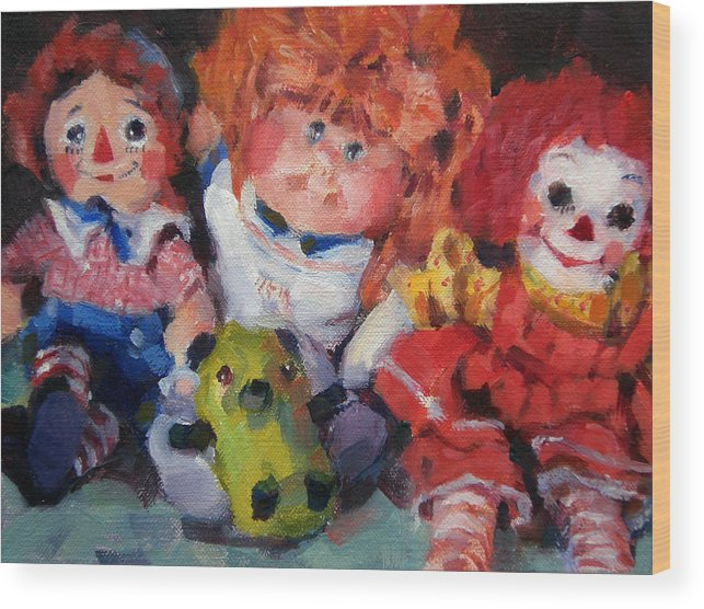 Toys Wood Print featuring the painting Old Friends by Merle Keller