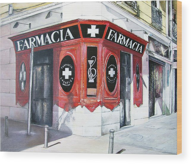 Pharmacy Wood Print featuring the painting Old Pharmacy by Tomas Castano