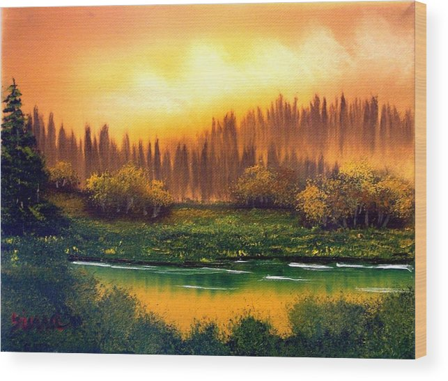 Landscape Wood Print featuring the painting On Golden Pond by Dina Sierra