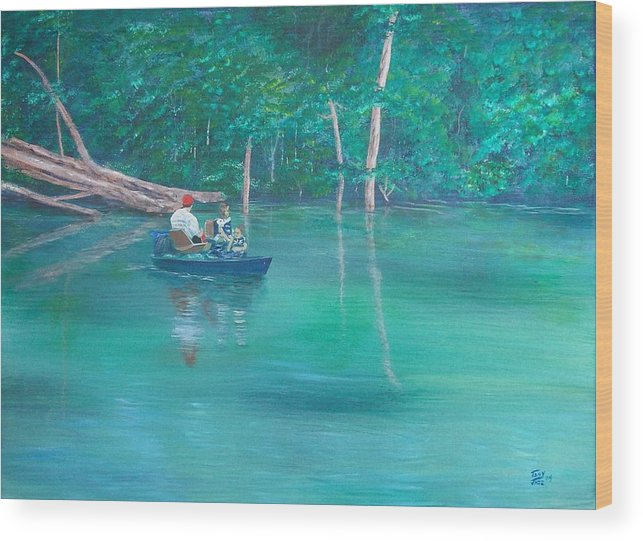 Boats Wood Print featuring the painting On The Lake by Tony Rodriguez