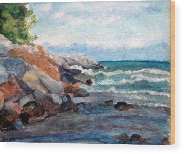 Seascape Wood Print featuring the painting On the Rocks by Stephanie Allison