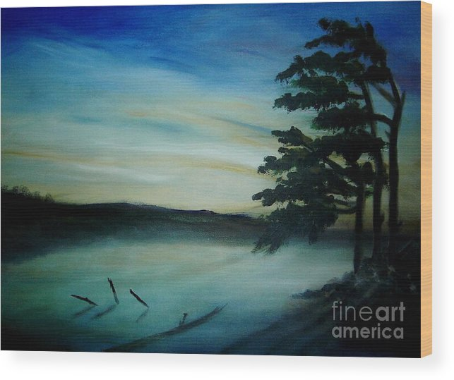 Landscape Wood Print featuring the painting One Sided by Vi Mosley