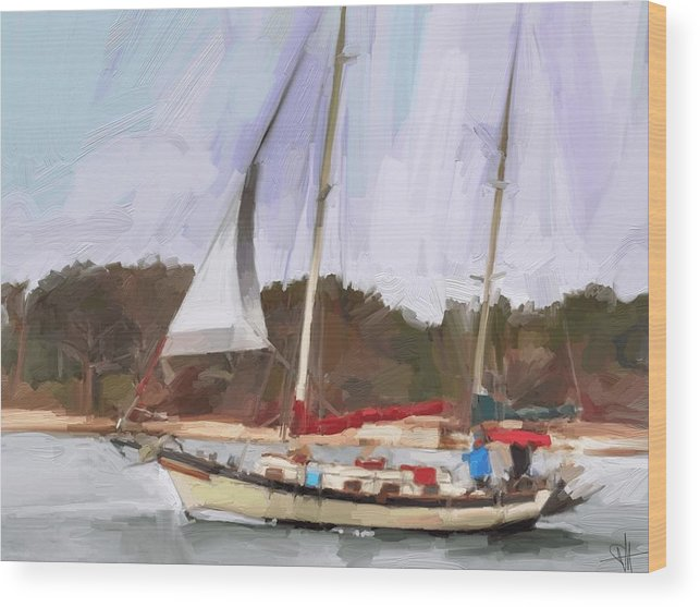 Florida Sailboat Art Wood Print featuring the digital art Outbound by Scott Waters