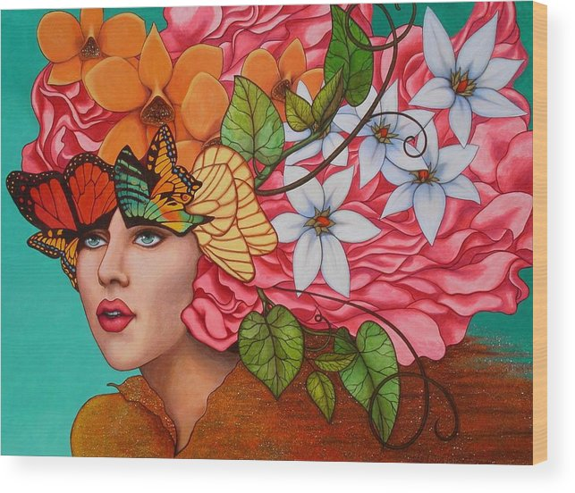 Woman Wood Print featuring the painting Passionate Pursuit by Helena Rose