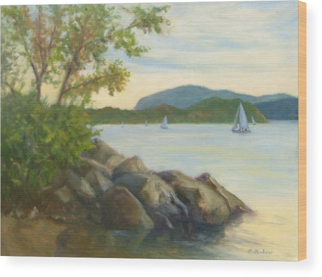 Landscape Painting Wood Print featuring the painting Perfect Day for a Sail by Phyllis Tarlow
