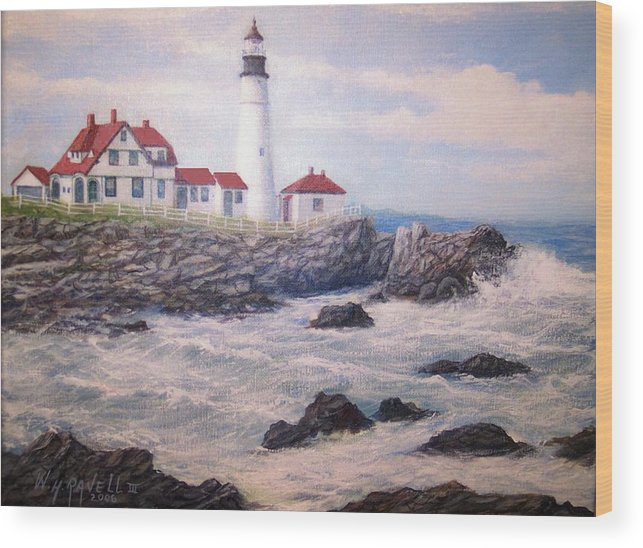 Lighthouse Wood Print featuring the painting Portland Head Lighthouse by William H RaVell III