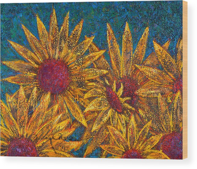 Flowers Wood Print featuring the painting Positivity by Oscar Ortiz
