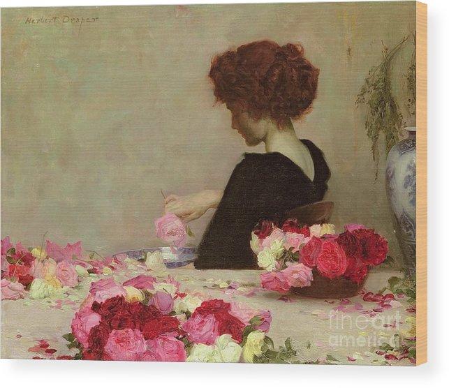 Female Wood Print featuring the painting Pot Pourri by Herbert James Draper