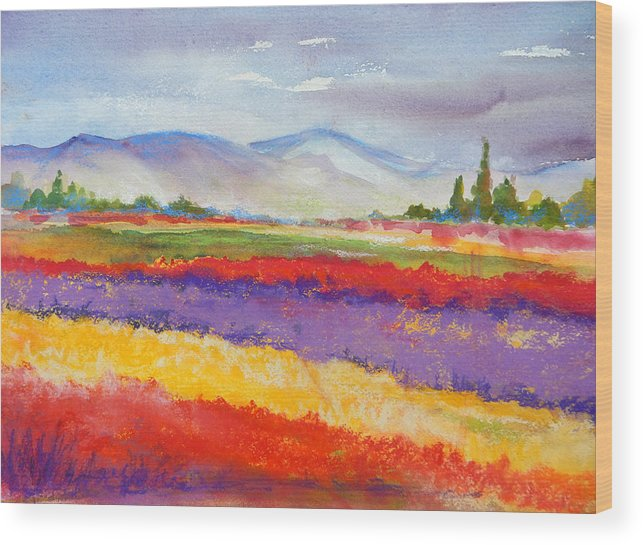 Fields Wood Print featuring the painting Purple Fields by Caroline Patrick
