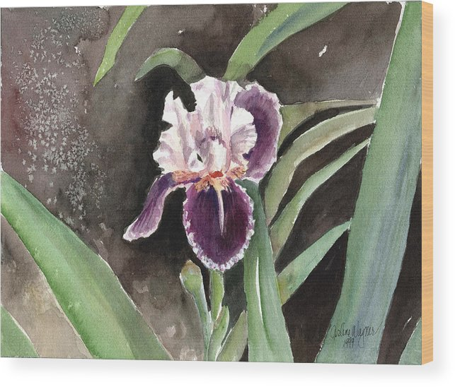 Flower Wood Print featuring the painting Purple Iris by Arline Wagner