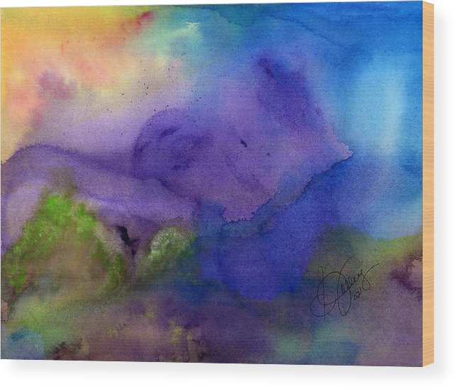 Watercolor Wood Print featuring the painting Purple Moon by Stephanie Jolley