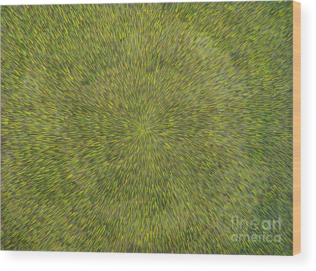 Abstract Wood Print featuring the painting Radiation with Green with Yellow by Dean Triolo