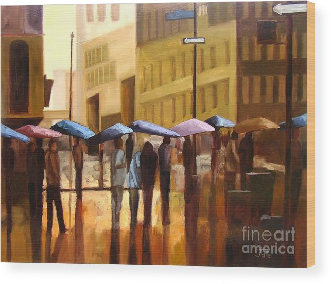 Cityscape Wood Print featuring the painting Rain in Manhattan number seventeen by Tate Hamilton