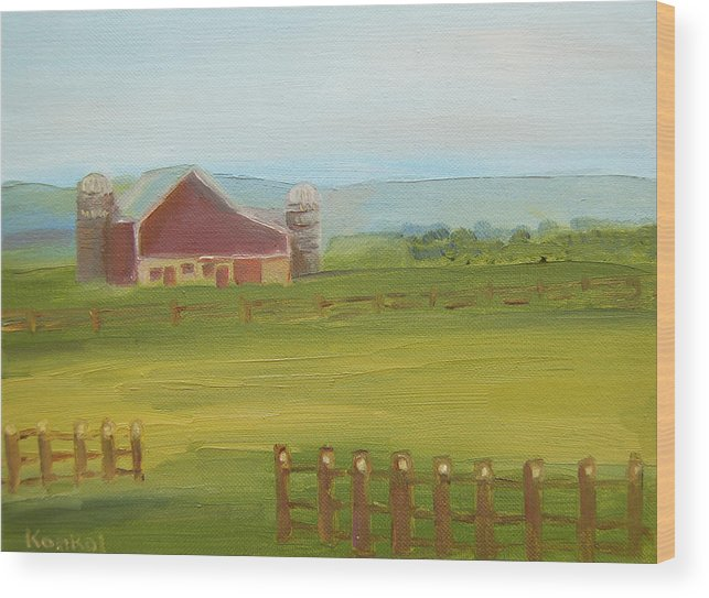 Konkol Wood Print featuring the painting Red Barn by Lisa Konkol