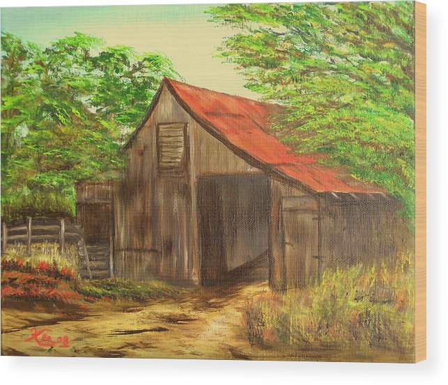 Landscape Wood Print featuring the painting Red Roof Barn by Kenneth LePoidevin