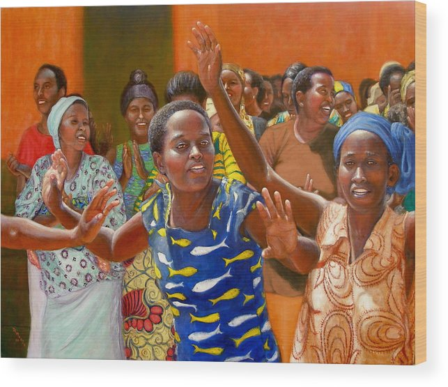Realism Wood Print featuring the painting Rejoice by Donelli DiMaria