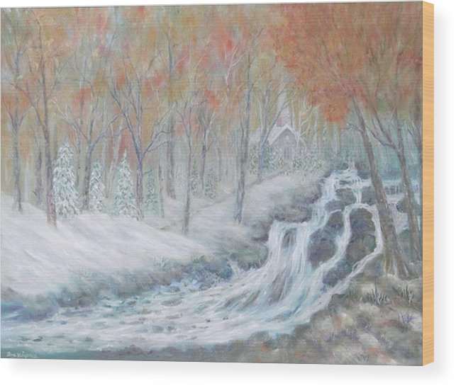 Snow; Landscape; Church Wood Print featuring the painting Reverence by Ben Kiger