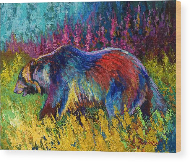 Western Wood Print featuring the painting Right Of Way - Grizzly Bear by Marion Rose