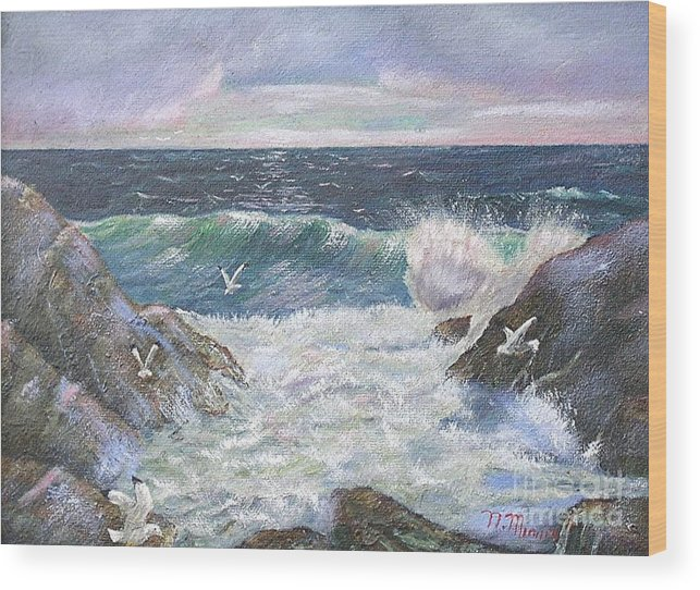 Original Oil Painting Seascape Rocky Shore.  Wood Print featuring the painting Rocky Shore by Nicholas Minniti