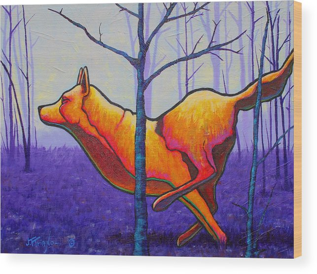 Wood Print featuring the painting Running Free Red Wolf by Joe Triano