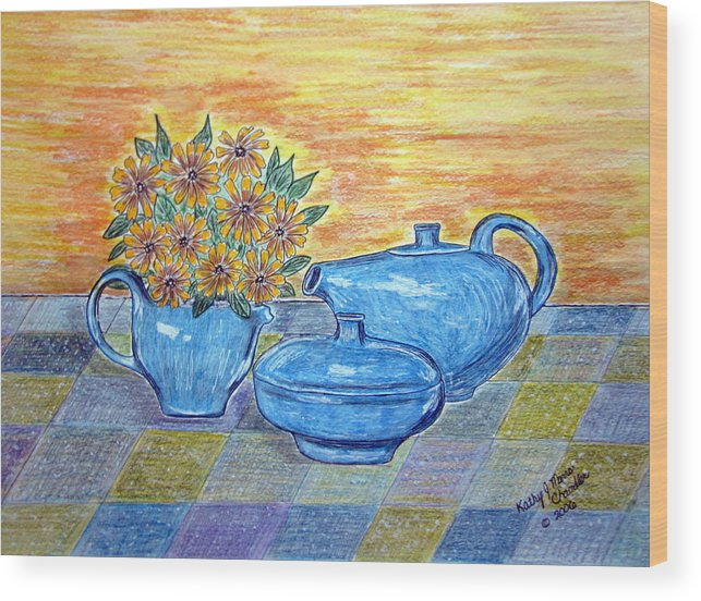 Russell Wright China Wood Print featuring the painting Russel Wright China by Kathy Marrs Chandler