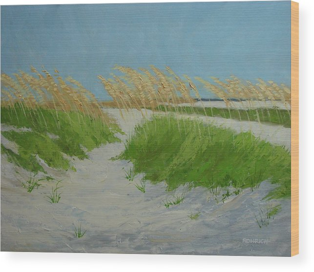 Ocean Dunes Wood Print featuring the painting SAND DUNES No 1 by Robert Rohrich