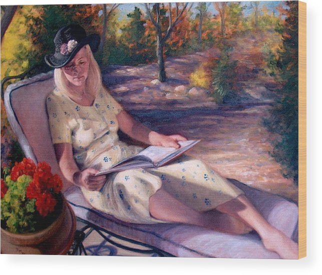 Realism Wood Print featuring the painting Santa Fe Garden 1 by Donelli DiMaria