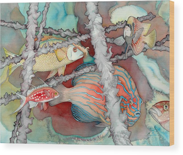 Sealife Wood Print featuring the painting Saving the reefs by Liduine Bekman