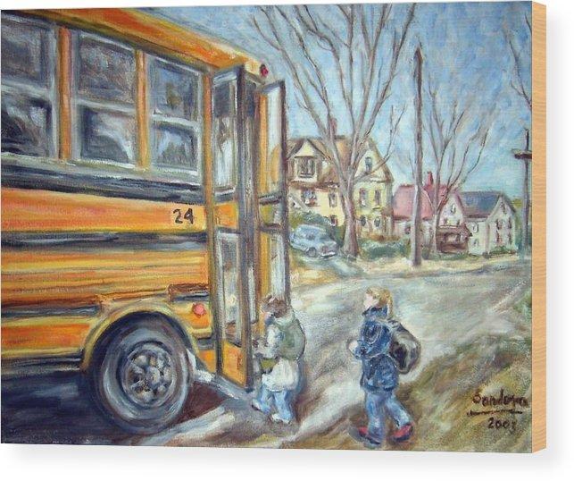 Landscape With Children Houses Street School Bus Wood Print featuring the painting School Bus by Joseph Sandora Jr