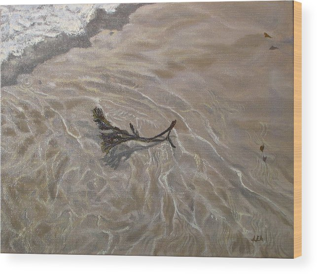 Seascape Wood Print featuring the painting Seashore Reflections by Lea Novak