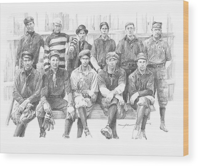 Www.miketheuer.com Semipro Baseball 1908 Co Railroad Pencil Portrait Wood Print featuring the drawing semipro baseball 1908 CO railroad pencil portrait by Mike Theuer