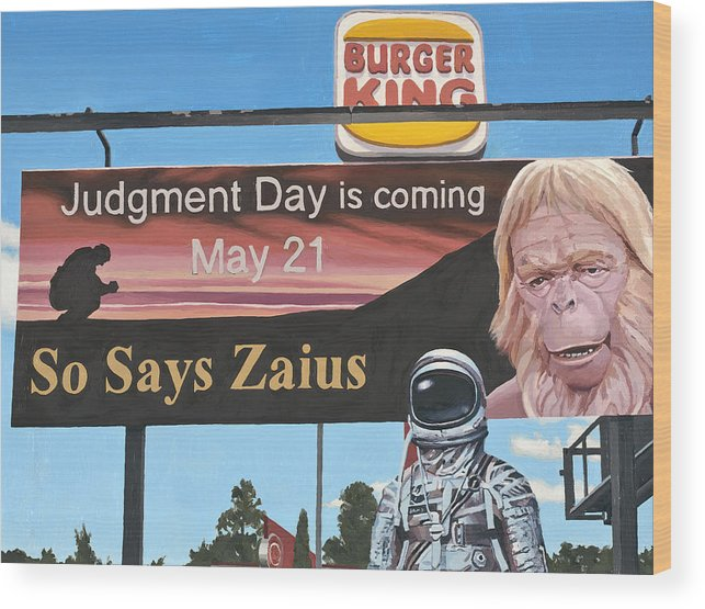 Astronaut Wood Print featuring the painting So Says Zaius by Scott Listfield