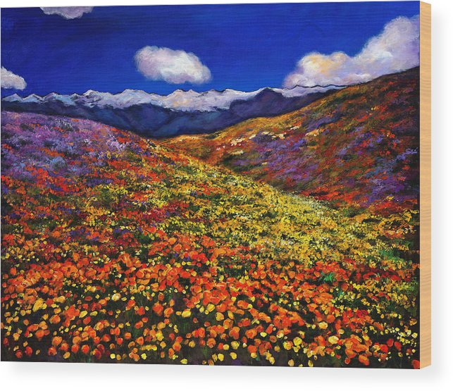 Landscapes Wood Print featuring the painting Solitude Under Azure Skies by Johnathan Harris